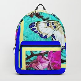 MODERN  PURPLE ORCHIDS & BLUE BUTTERFLY TURQUOISE Backpack