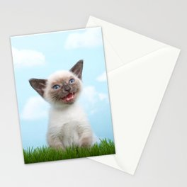 Siamese kitten singing Stationery Cards