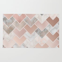 Rose Gold and Marble Geometric Tiles Rug