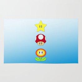 Super Mario Bros Star, Mushroom and Flower Rug