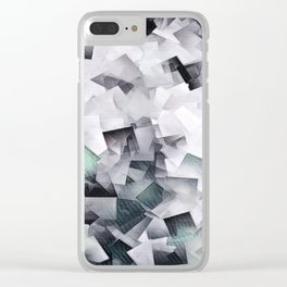 Geometric Stacks Mint Grays Clear iPhone Case