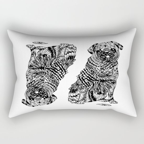 Pug Feather Rectangular Pillow