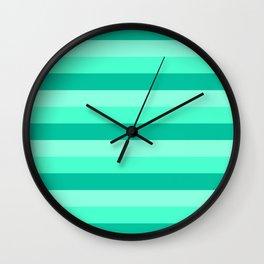 Teal, Sea foam Green, & Mint Medium Stripes Wall Clock
