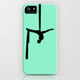 Aerial Silk Silhouette on Mint iPhone Case
