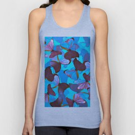 Shiny Blue And Pink Butterflies On A Turquoise Background #decor #society6 #pivivikstrm Unisex Tank Top