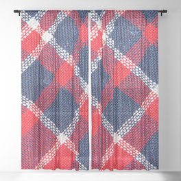 Texture of red and blue a checkered woolen fabric Sheer Curtain
