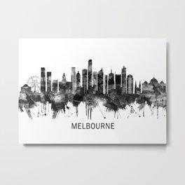 Melbourne Australia Skyline BW Metal Print