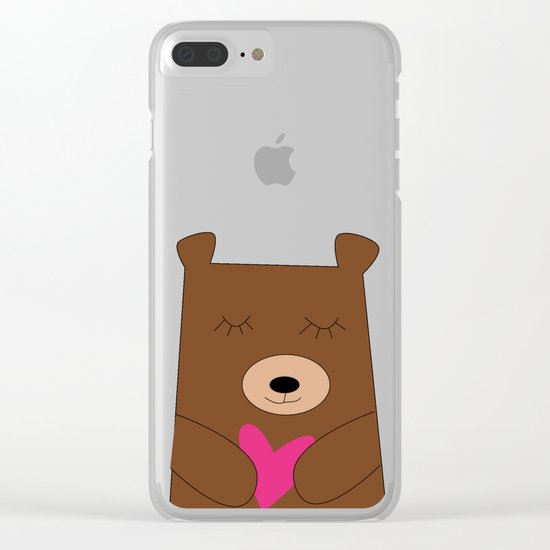 Bear in love pink Clear iPhone Case