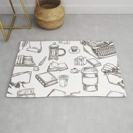 Rustic Mixed Books/Writing Pattern Rug