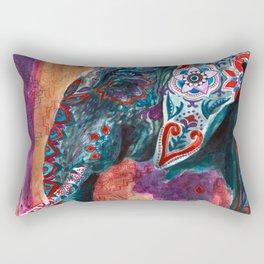 Elephant Indian Blossom Mandala Rectangular Pillow