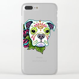 Boxer in White- Day of the Dead Sugar Skull Dog Clear iPhone Case