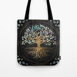 Tree of life - Yggdrasil - Gold and Painted Texture Tote Bag