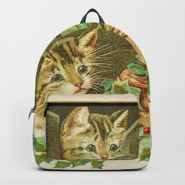 Merry Christmas Vintage Holiday Greeting Card, Kittens Backpack
