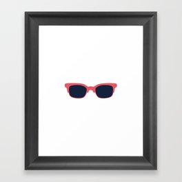 Teal Sun Glasses on White Framed Art Print