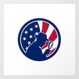 American Private Investigator USA Flag Icon Art Print