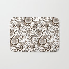 Mehndi or Henna Flowers and Leaves Bath Mat