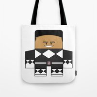 power rangers Tote Bags featuring Mighty Morphin Power Rangers - The Original Black Ranger Unmasked (Zack) by Choo Koon Designs