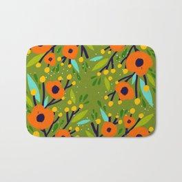 Leta Floral in Olive Green - Vintage Retro Flowers - Digital Painting Bath Mat