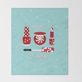 Super Cute Makeup Holiday Design Throw Blanket