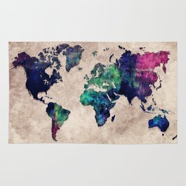 World map watercolor 1 Rug
