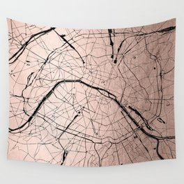 Paris France Minimal Street Map - Rose Gold Glitter on Black Wall Tapestry
