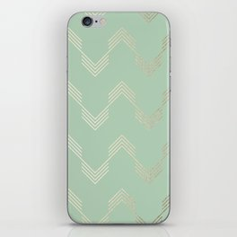 Simply Deconstructed Chevron in White Gold Sands and Pastel Cactus Green iPhone Skin