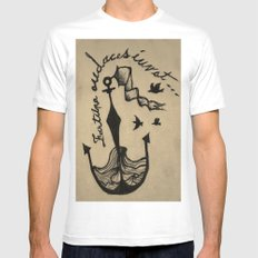 Anchor, Navy Birds MEDIUM White Mens Fitted Tee