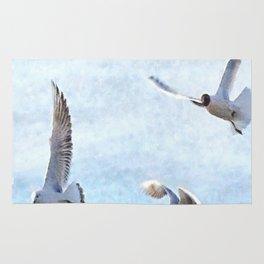 Three Seagulls Watercolor Rug
