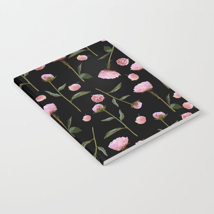 Peonies on Black Notebook