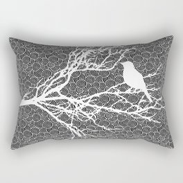Bird on a Branch, White Against Black Pattern Rectangular Pillow