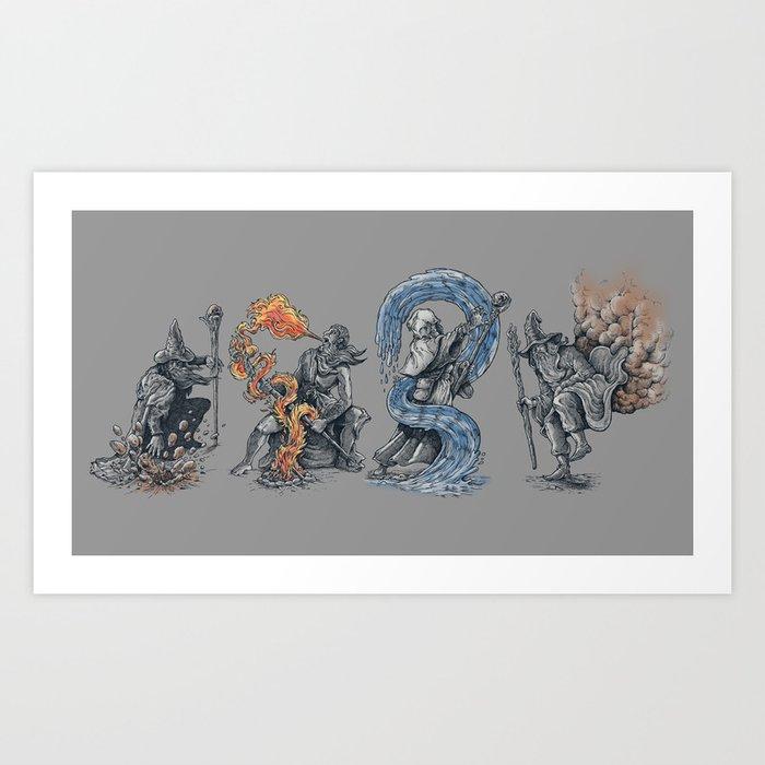 earth - fire - water - (bad) air Art Print