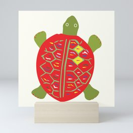 Adorable Toy Turtle I | Orange & Green Olive   Mini Art Print
