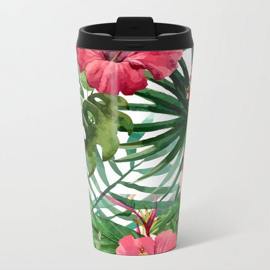 Tropical floral 6 Metal Travel Mug