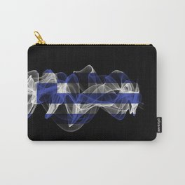 Greece Smoke Flag on Black Background, Greece flag Carry-All Pouch