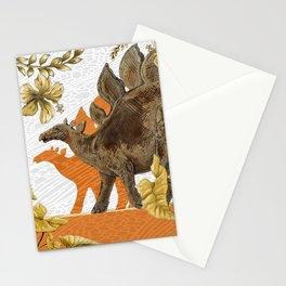 Jurassic Stegosaurus: Orange & Gold Stationery Cards
