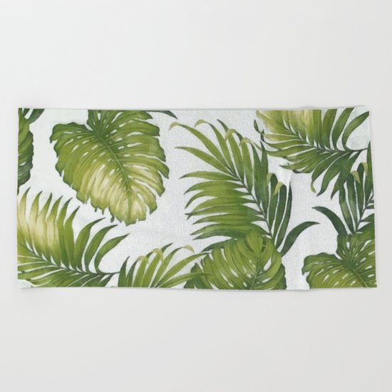Monstera and palm leaves Beach Towel