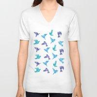 origami V-neck T-shirts featuring ORIGAMI BIRDS by austeja saffron