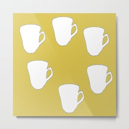 White silhouette cups on brown Metal Print