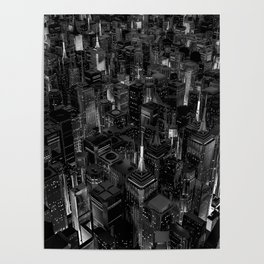Night city glow B&W / 3D render of night time city lit from streets below in black and white Poster