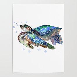Sea Turtle, Green Blue, sea turtle under water, sky blue Poster