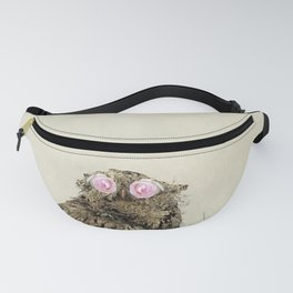 Owl with Pink Rose Eyes on Beige with Vintage Texture Fanny Pack