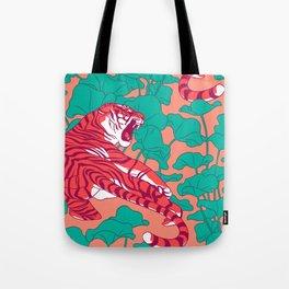 Scarlet tigers on lotus flower field. Tote Bag