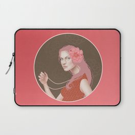 Girl Holding a Pearl Necklace Laptop Sleeve