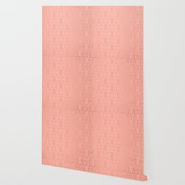 Simply Mid-Century in White Gold Sands on Salmon Pink Wallpaper
