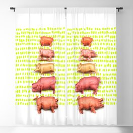 Stack of pigs on the green green grass of home Blackout Curtain