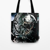 venom Tote Bags featuring Venom  by D77 The DigArtisT