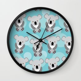 koala Seamless pattern with funny cute animal on a blue background Wall Clock