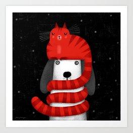 CAT HAT SCARF Art Print