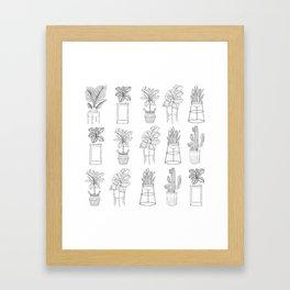 Houseplants Pattern Framed Art Print