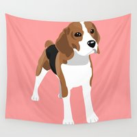 beagle Wall Tapestries featuring Beagle - Pink by Sian Murray Art